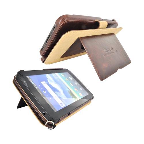 Original Zenus Samsung Galaxy Tab P1000 Folder Series Leather Stand Case - Black Chocolate