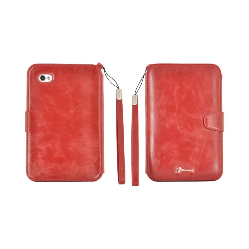 Original Zenus Samsung Galaxy Tab P1000 Folder Series Leather Stand Case - Vintage Red
