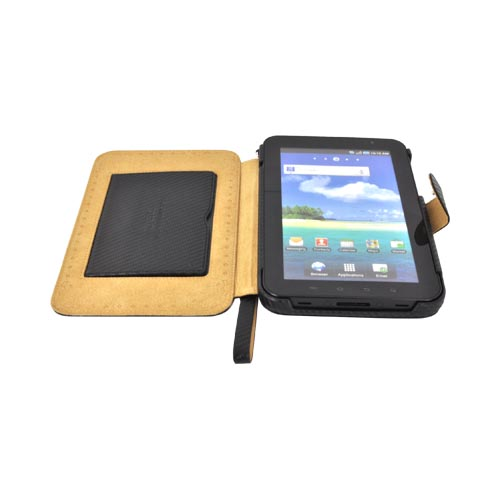 Original Zenus Samsung Galaxy Tab P1000 Folder Series Leather Stand Case - Black Carbon Fiber