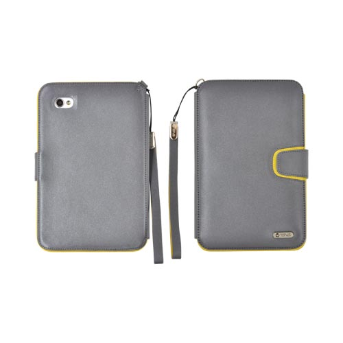 Original Zenus Samsung Galaxy Tab P1000 Folder Series Leather Stand Case - Gray/ Yellow