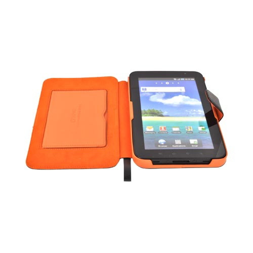 Original Zenus Samsung Galaxy Tab P1000 Folder Series Leather Stand Case - Black/ Orange