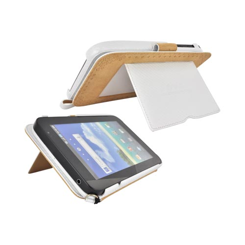 Original Zenus Samsung Galaxy Tab P1000 Folder Series Leather Stand Case - White Carbon Fiber