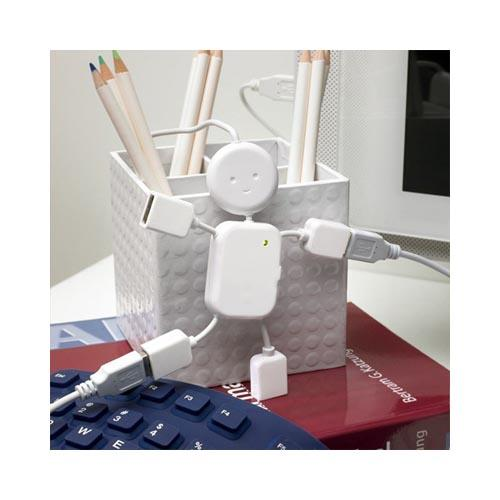 Original Kikkerland Hubman 4-Way USB Hub, US006 - White