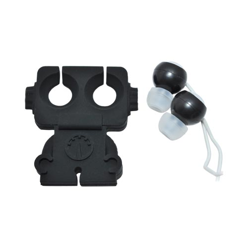 Original Kikkerland Robo Buddy! Earbud Stereo Headset w/ Cord Wrapper (3.5mm), US18-BK - Black Robot w/ Googly Eyes