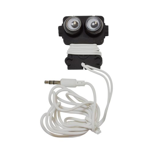 Original Kikkerland Robo Buddy! Universal Earbud Stereo Headset w/ Cord Wrapper (3.5mm), US18-BK - Black Robot w/ Googly Eyes