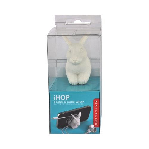 Original Kikkerland Universal iHop Cell Phone & MP3 Player Suction Cup Stand and Cord Wrapper, US21 - White Rabbit