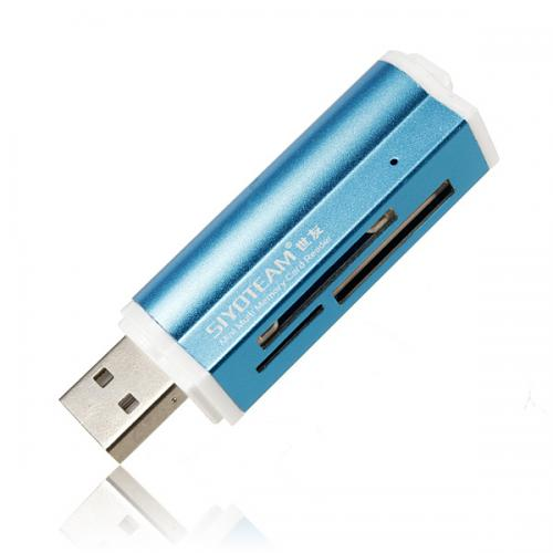 Universal All-In-1 USB 2.0 Memory SD Card Reader [Blue]