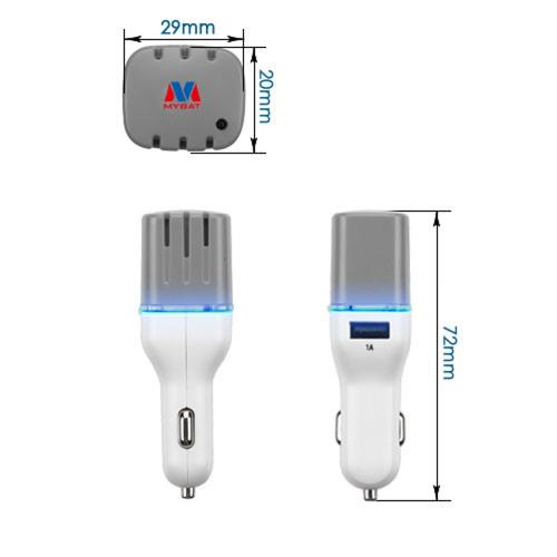 Car Charger w/ Air Purifier(w/ Dual USB output)(3.1A) [White/ Gray]
