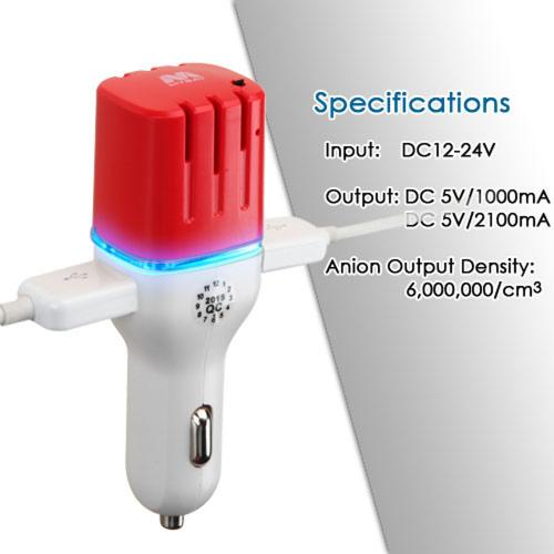 Car Charger w/ Air Purifier(w/ Dual USB output)(3.1A) [White/ Red]
