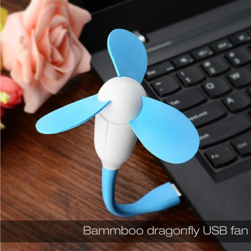 Blue Universal USB Mini Fan w/ Safe to Touch EVA Foam Blades
