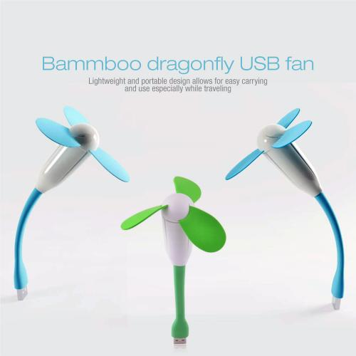 Green USB Mini Fan w/ Safe to Touch EVA Foam Blades