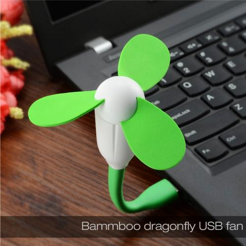 Green Universal USB Mini Fan w/ Safe to Touch EVA Foam Blades