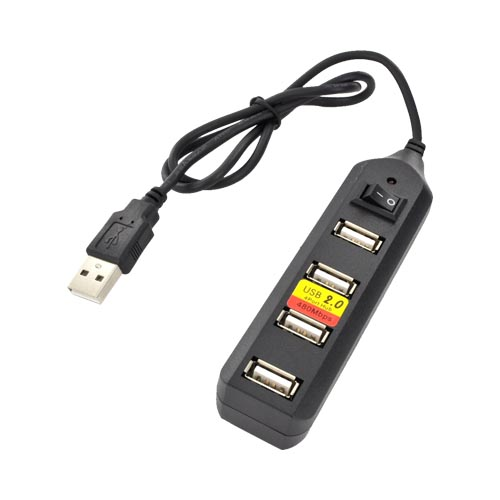 Premium 4 Port USB Hub w/ Cable - Black