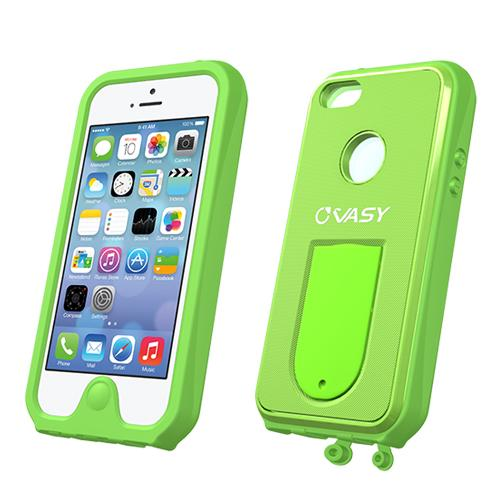 VASY Lime Green Apple iPhone 5/5S Waterproof/ Dustproof/ Dirt Proof Protective Hard Case w/ Kickstand & Lanyard - Perfect Alternative to LifeProof!
