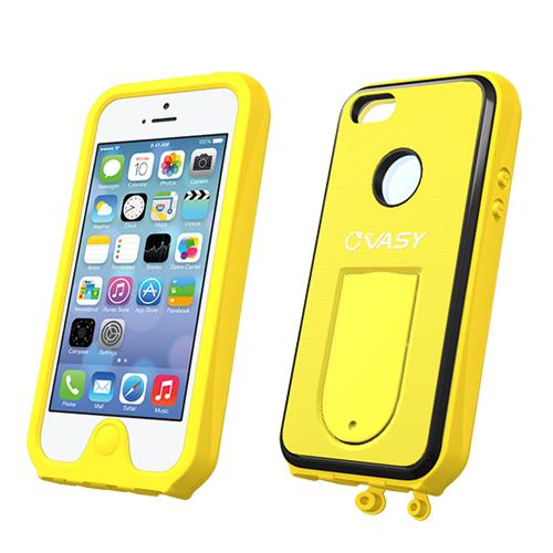 VASY Yellow Apple iPhone 5/5S Waterproof/ Dustproof/ Dirt Proof Protective Hard Case w/ Kickstand & Lanyard - Perfect Alternative to LifeProof!