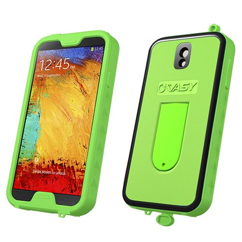 VASY Lime Green Samsung Galaxy Note 3 Waterproof/ Dustproof/ Dirt Proof Protective Hard Case w/ Kickstand & Lanyard - Perfect Alternative to LifeProof!