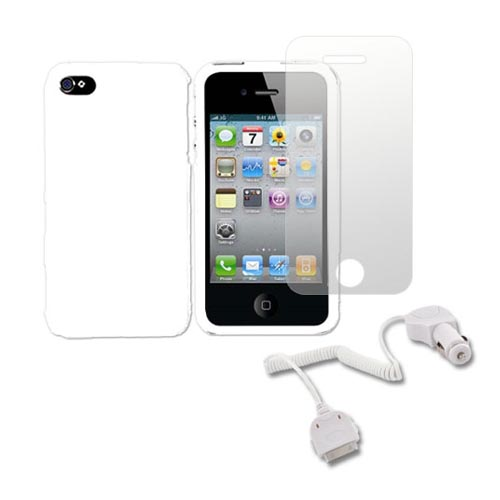 AT&T / Verizon iPhone 4, iPhone 4S Essential Bundle w/ White Hard Case, Screen Protector and Car Charger