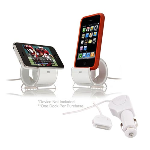 AT&T / Verizon iPhone 4, iPhone 4S Essential Bundle w/ Rose Pink Hard Case, Screen Protector, Car Charger, and Sinjimoru Stand