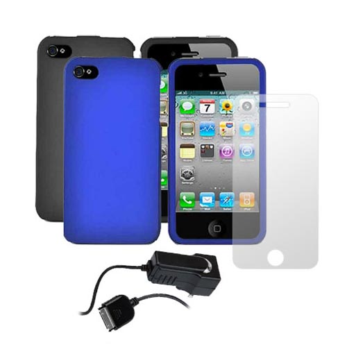AT&T / Verizon iPhone 4, iPhone 4S Essential Bundle w/ 2 Hard Cases, Screen Protector and Travel Charger