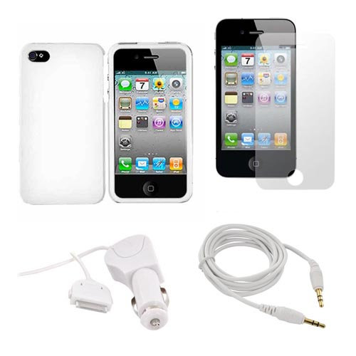 AT&T / Verizon iPhone 4, iPhone 4S Essential Bundle w/ White Hard Case, Screen Protector, Aux Cable (3.5mm to 3.5mm) and Car Charger