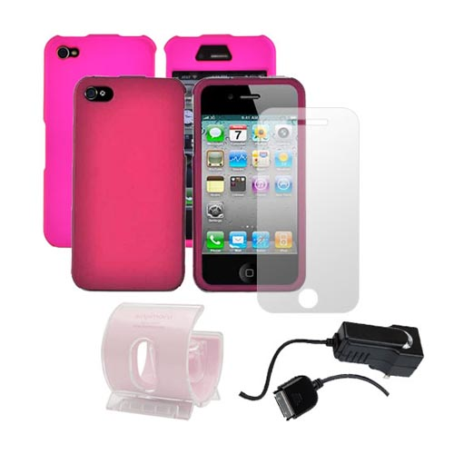 AT&T / Verizon iPhone 4, iPhone 4S Pink Combo Package w/ 2 Pink Plastic Cases, Screen Protector, Car Charger, and 3Feet Stand