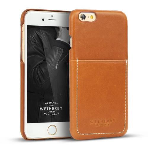 Apple iPhone 6/ 6S Case, Wetherby Bar-Type [Brown]  100% Handcrafted ID Credit Card Storage Genuine Cow Leather Hard Case