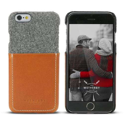 Apple iPhone 6/ 6S Case, Wetherby Bar-Type [Gray/ Brown]  100% Handcrafted ID Credit Card Storage Genuine Cow Leather Hard Case