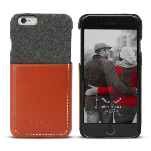 Apple iPhone 6/ 6S Case, Wetherby Bar-Type [Gray/ Red Brown]  100% Handcrafted ID Credit Card Storage Genuine Cow Leather Hard Case