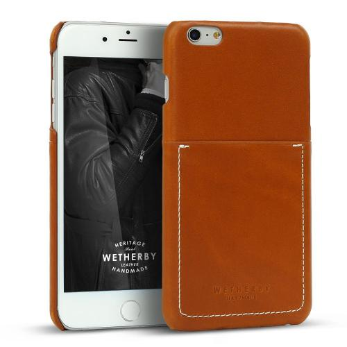 Apple iPhone 6 PLUS/6S PLUS (5.5 inch) Case, Wetherby Bar-Type [Brown]  100% Handcrafted ID Credit Card Storage Genuine Cow Leather Hard Case