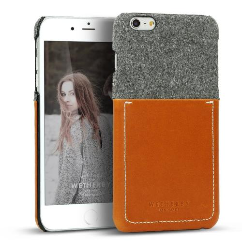 [Apple iPhone 6 Plus/6S Plus] (5.5 inch) Case, Wetherby Bar-Type [Gray/ Brown]  100% Handcrafted ID Credit Card Storage Genuine Cow Leather Hard Case
