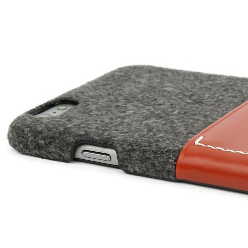 Apple iPhone 6 PLUS/6S PLUS (5.5 inch) Case, Wetherby Bar-Type [Gray/ Red Brown]  100% Handcrafted ID Credit Card Storage Genuine Cow Leather Hard Case
