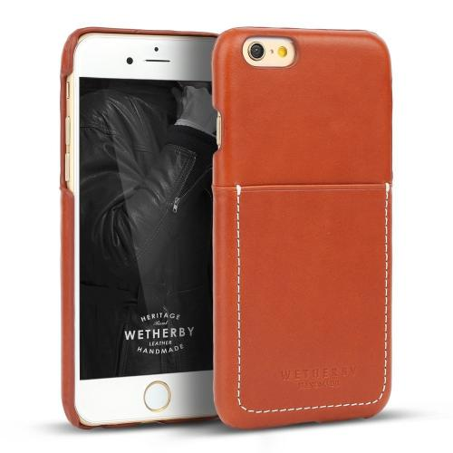 Apple iPhone 6/ 6S Case, Wetherby Bar-Type [Red Brown]  100% Handcrafted ID Credit Card Storage Genuine Cow Leather Hard Case