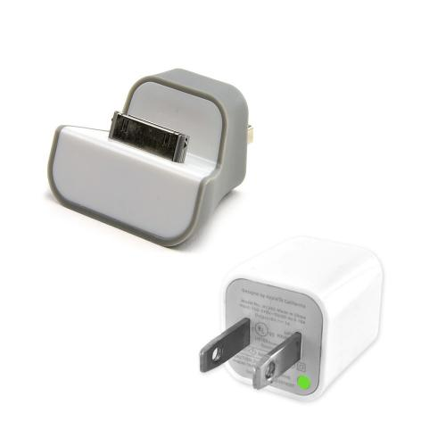 Gray/ White Wall Mount Mini Dock USB Charger & USB Wall Charger Adapter Bundle for Apple iPhone/ iPod (Excludes Devices w/ Lightning Port)