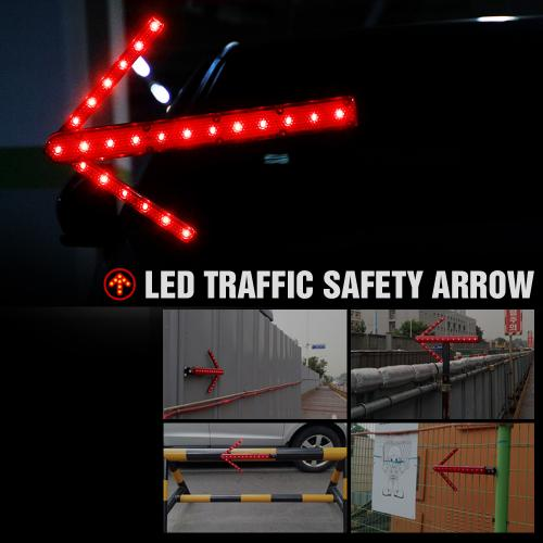 19 inch Traffic Safety LED Baton, Woosung [Arrow Shift Design] for Roadside Emergency with Dual Flashing Mode (Blinking and Steady-glow) + Magnetic Base, Uses 2 AA Batteries (NOT included)