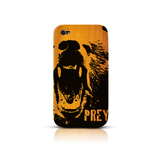TPhone Eco-Design AT&T/ Verizon Apple iPhone 4, iPhone 4S 100% Teak Hard Wood Back Cover Case w/ Screen Protector - Bear Prey [ENGRAVING]