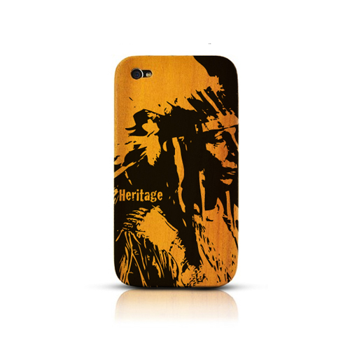 TPhone Eco-Design AT&T/ Verizon Apple iPhone 4, iPhone 4S 100% Teak Hard Wood Back Cover Case w/ Screen Protector - World Heritage Native American [ENGRAVING]