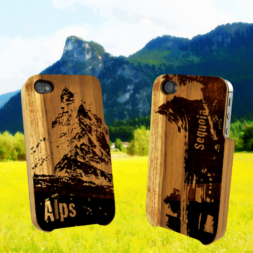 Eco-design At&t/ Verizon Apple Iphone 4, Iphone 4s 100% Teak Hard Wood Back Cover Case W/ Screen Protector - Sequoia Fallen Tree Tunnel [engraving]