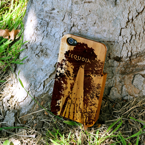 TPhone Eco-Design AT&T/ Verizon Apple iPhone 4, iPhone 4S 100% Teak Hard Wood Back Cover Case w/ Screen Protector - Yellowstone [ENGRAVING]