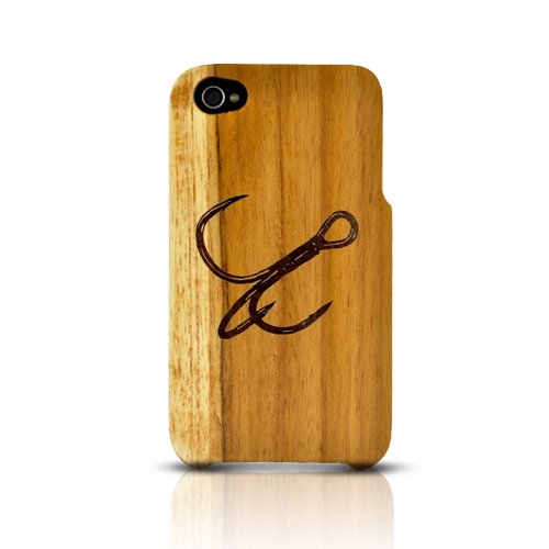 TPhone Eco-Design Apple iPhone 4/4S 100% Teak Hard Wood Back Cover Case w/ Screen Protector - Fish Hook