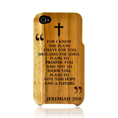TPhone Eco-Design Apple iPhone 4, iPhone 4S 100% Teak Hard Wood Back Cover Case w/ Screen Protector - Jeremiah 29:11
