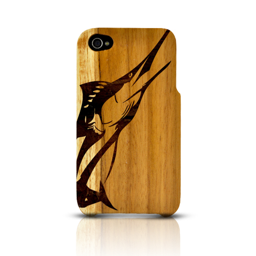 TPhone Eco-Design Apple iPhone 4/4S 100% Teak Hard Wood Back Cover Case w/ Screen Protector - Marlin
