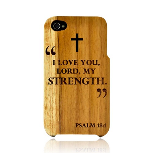 TPhone Eco-Design Apple iPhone 4, iPhone 4S 100% Teak Hard Wood Back Cover Case w/ Screen Protector - Psalm 18:1