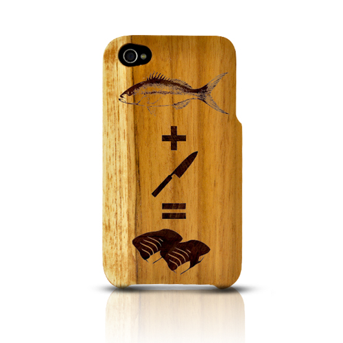 TPhone Eco-Design Apple iPhone 4/4S 100% Teak Hard Wood Back Cover Case w/ Screen Protector - Fish + Knife = Sushi