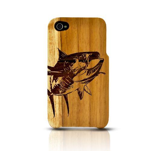 TPhone Eco-Design Apple iPhone 4/4S 100% Teak Hard Wood Back Cover Case w/ Screen Protector - Yellowfin
