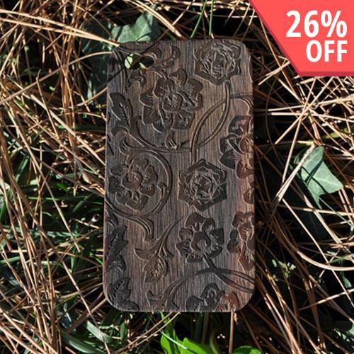 Exclusive TPhone Apple Verizon/ AT&T iPhone 4, iPhone 4S 100% Hard Wood Back Cover Case - Sonokeling Black Wood (Rose Vine Design)