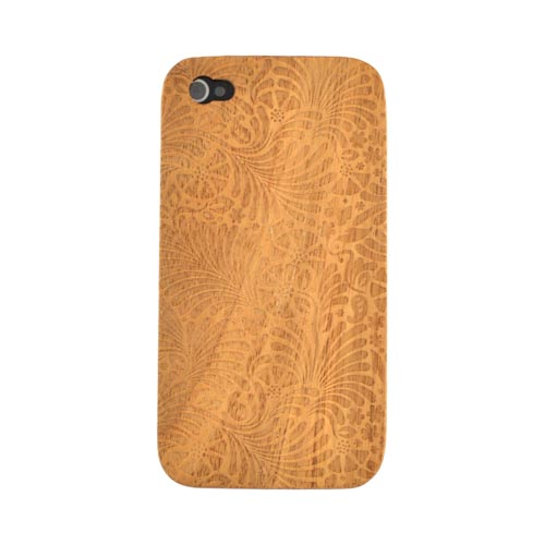 Exclusive TPhone Apple Verizon/ AT&T iPhone 4, iPhone 4S 100% Hard Wood Back Cover Case - Teak Brown Wood (Copacabana Design)