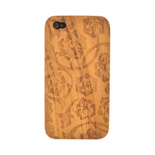 Exclusive TPhone Apple Verizon/ AT&T iPhone 4, iPhone 4S 100% Hard Wood Back Cover Case - Teak Brown Wood (Rose Vine Design)