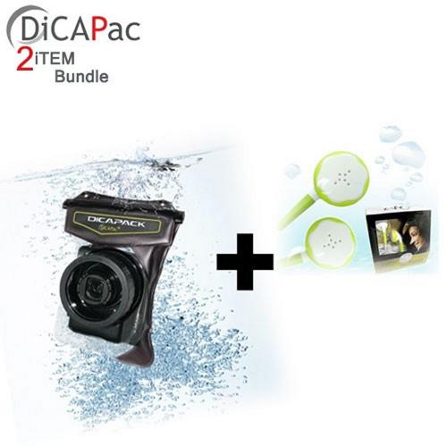 Waterproof Bundle Package - Dicapac WPH-10 High-End Waterproof Digital Camera Case for Cameras w/ Zoom Lens & Stereo Earphone Headset - (Traveller Combo)