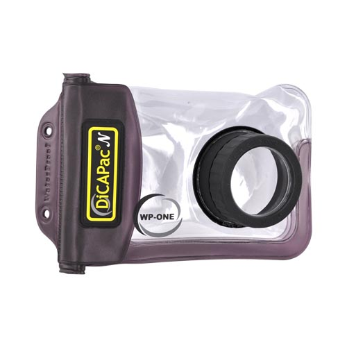 Original DICAPac Waterproof Digital Camera Case for Camera w/ Zoom Lens, WP-ONE - Black/ Clear