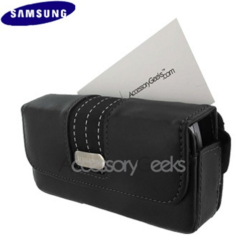 Original Samsung Caller ID Leather Carry Case, WT17200000170 - Black